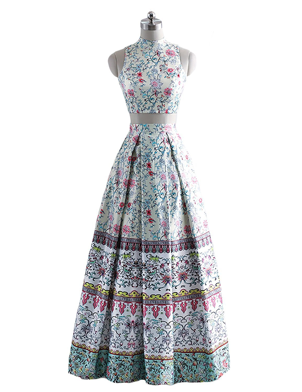 Women's 2018 Satin Two Piece Floral Print Prom Dress High Neck Long Formal Gown
