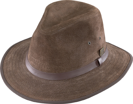 Henschel Suede Safari Hat Leather Band Fully Lined Made In USA Black Brown