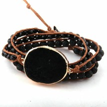 Natural Stones Wrap Bracelet Black Mixed Glass Crystal Charm Fashion Strands - $13.94