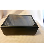Black Wooden Trinket Box with Glass Picture Frame Top Velvet Lining Ball... - $59.40