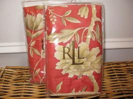 2 Ralph Lauren VILLA CAMELIA FLORAL Standard Shams NIP Paprika Red - $104.45