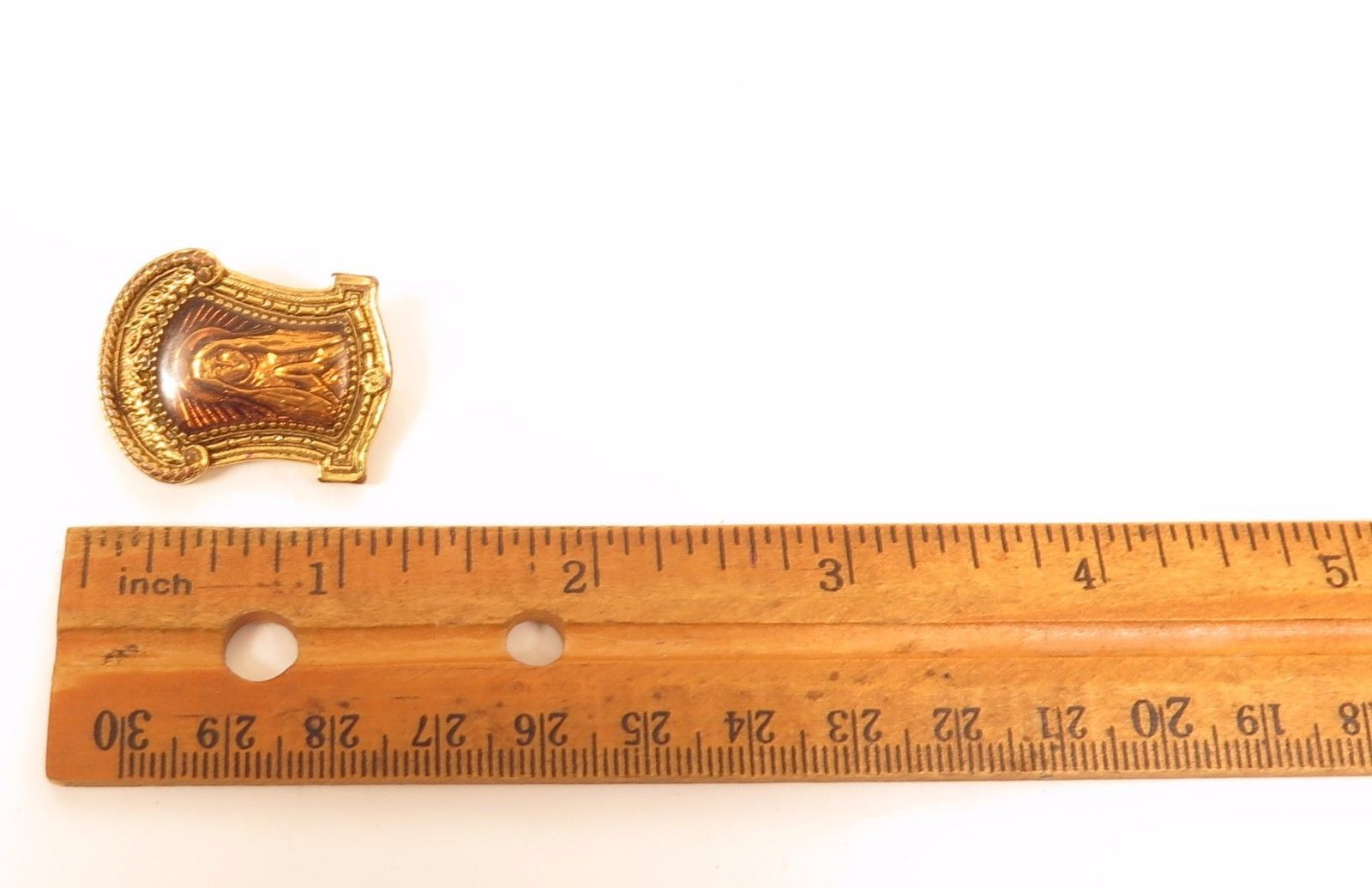Vintage Signed Virgin Mary Under Resin Gold Plated Catholic Pin Brooch*E900