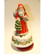 "SANTA CLAUS IS COMING TO TOWN MUSICAL ROTATING PORCELAIN BISQUE 7"" H - $29.99"
