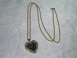 Vintage Goldtone Twist Chain with Monogrammed MRJ Heart Pendant Necklace... - $10.39