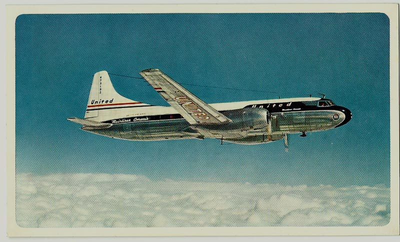 United Airlines Kodachrome, White Border Postcard, Mainliner Convair, 1954