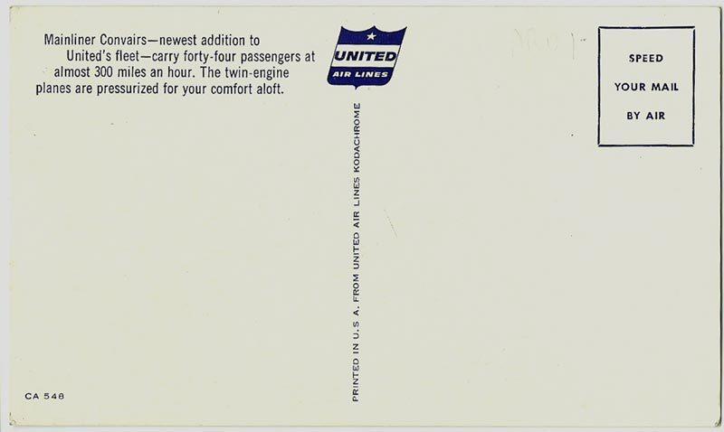 United Airlines Kodachrome, White Border Postcard, Mainliner Convair, 1954