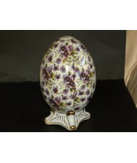 Ceramic Egg Footed Decorator Piece Pansies Purp... - $50.00