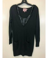 Juicy Couture Sequin V-Neck Long Sleeve Black Sweater Dress, Size Small EUC - $17.81