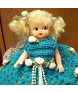 Sweet handmade doll pillow minty fresh aqua - $8.50