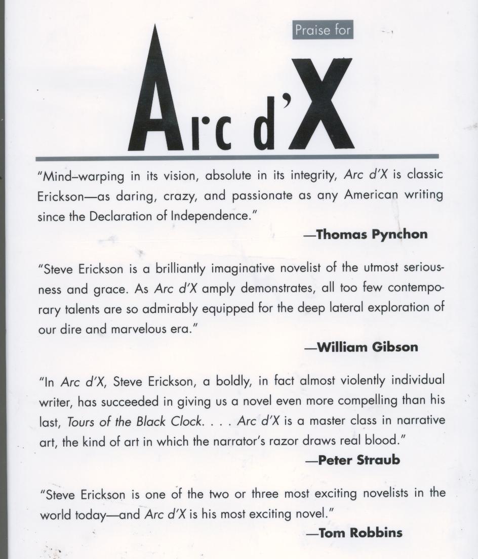 Steve Erickson - Arc d'X - 1993 - hb/dj -1st Printing