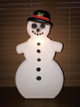 """Vtg Christmas 25"""" White Gingerbread Snowman Black Hat Blow Mold Don Feat... - $148.49"""