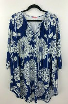 Simply Aster Firmiana Blouse Tunic Top 2X Blue Floral Stretch Jersey B21-04 - $14.44