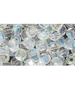 4mm Clear Crystal AB Faceted Round Fire Polished Czech Glass Beads 100 P... - $2.77