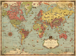 Pictorial ca1930 Mercator Map of The World History Wall Art Poster Print... - $12.38