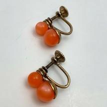 Vintage Orange Moon Glow Dainty Small Screw Back Earrings Mid Century Pl... - $11.10