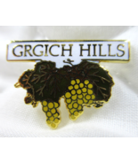 GRGICH HILLS Pin Logo Yellow Grapes Green Leaves Winery Napa Valley CALI... - $6.00