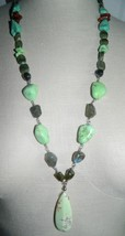 VTG Silver Tone Green Turquoise Agate Amber Beaded Pendant Drop Necklace - $37.13