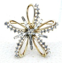 VTG RARE 50's CROWN TRIFARI Patent Pending Clear Rhinestone Ribbon Pin B... - $148.50