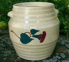 Vintage Red Wing/Ransbottom Stoneware Morning Glory Cookie Jar NO LID - $60.00