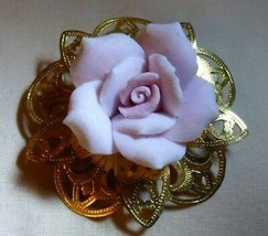 Vintage 1960s Goldtone Pierced Pin w/ Bisque China Pink Rose - $12.00