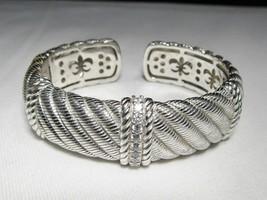 Judith Ripka Sterling Silver CZ Hinged Bracelet Heavy 8107 - $145.03