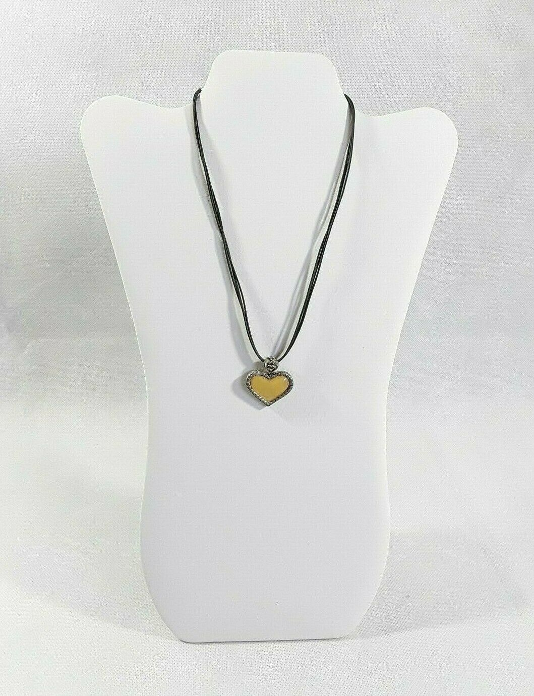 """Cookie Lee 2-in-1 Reversible Golden Heart Corded 18"""" Pendant Necklace Signed EUC"""