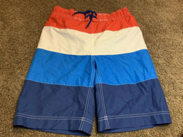 Gap Kids Boys Sz L 10-11 Yrs Red White & Blue Striped Swim Trunks Board Shorts - $19.79