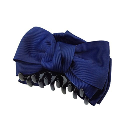 [Set Of 2] Handmade Bowknot Jaw Clip Hair Styling Claws, 3.7 inches, NAVY