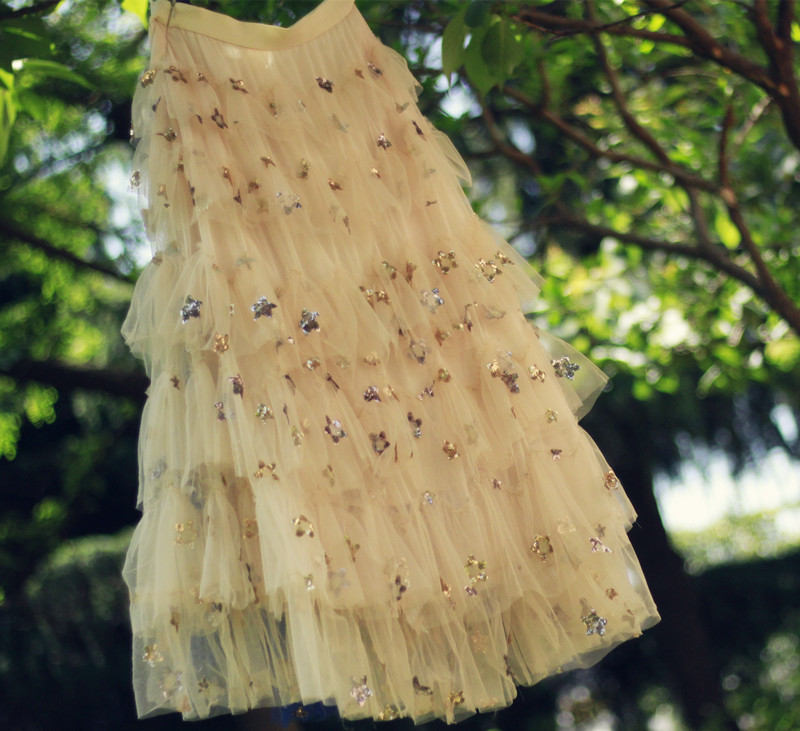 Women CHAMPAGNE GOLD NAVY Tiered Tutu Skirt Tiered Tutu Party Outfits Plus Size  image 9