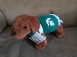 "MSU SPARTANS WIENER DOG Brand New 2012 Plush Tags 11"" MICHIGAN STATE UNI... - $9.99"