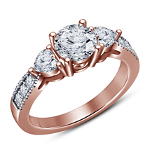 Three Stone Engagement Ring Diamond Rose Gold Plated Pure 925 Sterling S... - $94.21 CAD