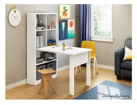 White Home Office Desk and Storage Unit Combo -Home Work Table and Shelv... - $325.99
