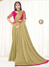 Designer Beige Tassel Pallu Work Heavy Blouse Sari Chiffon Wedding Wear ... - £42.32 GBP