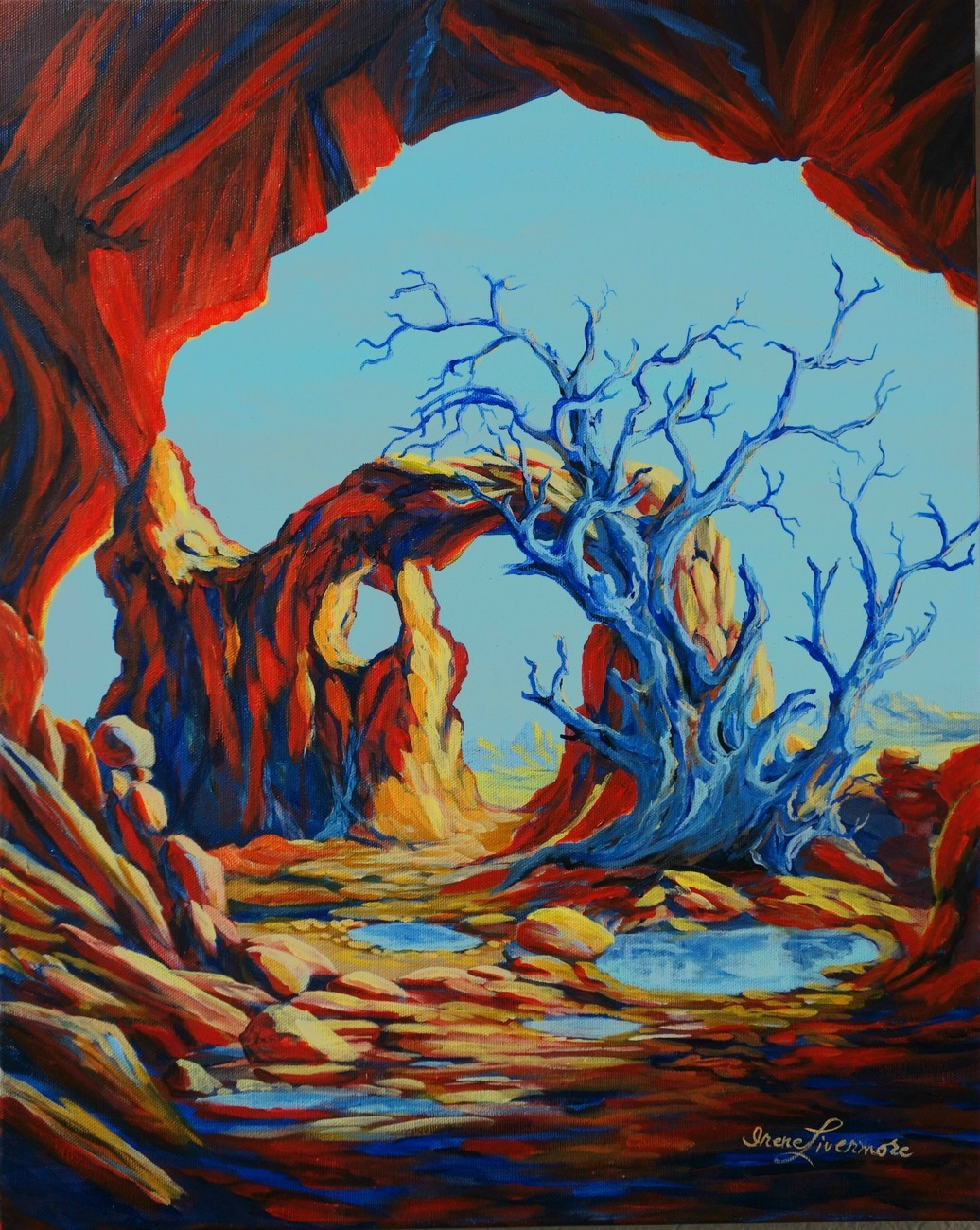 Blue Tree Landscape Arches Surreal Original Oil Painting on Stretch Canvas