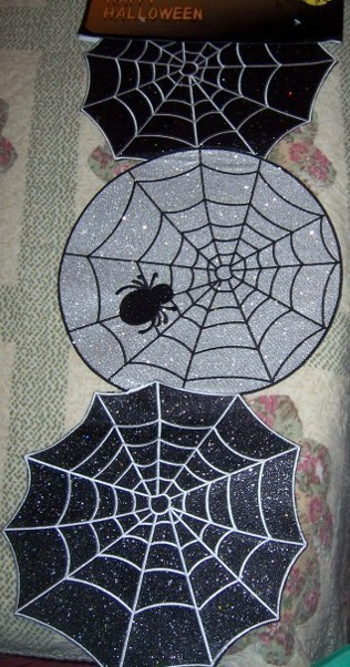 Silver & Black Spiderweb Glitter Halloween Table Runner Centerpiece Beautiful