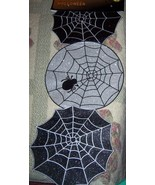 Silver & Black Spiderweb Glitter Halloween Table Runner Centerpiece Beau... - $15.00