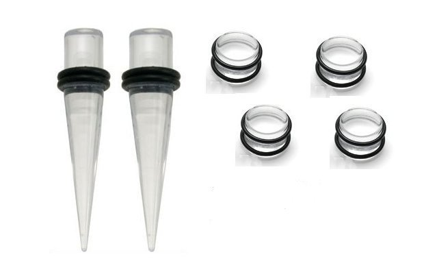 6g gauge PAIR CLEAR Tapers & Plugs Ear Stretching Kit