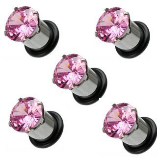PAIR 0g 0 gauge STEEL PINK CZ GEM ear plugs 8mm