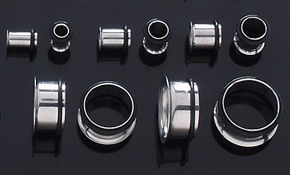 PAIR Stainless Steel TUNNELS PLUGS 5/8 16mm ear stretch