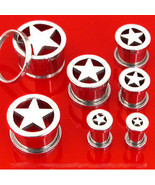 Pair STEEL STAR SCREW ON PLUGS tunnels ear flesh gauges CHOOSE SIZE 00g-8g - $13.49