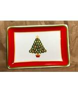 Charter Club Holiday Lane Small Ceramic CHRISTMAS TREE Jewelry Trinket TRAY - $8.79