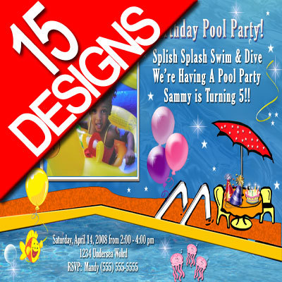 Primary image for Custom Personalized Pool Party Water Park Slide Photo Birthday Party Invitation
