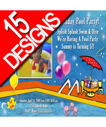 Custom Personalized Pool Party Water Park Slide Photo Birthday Party Inv... - $19.99