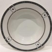 Sango Domino Gray White Lines Gray Black Geometric Set of 4 Rim Soup Bow... - $34.64