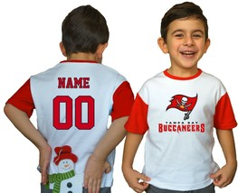 Tampa Bay Buccaneers Kids Tee Shirt Personalized Football NFL Logo Youth... - $9.90