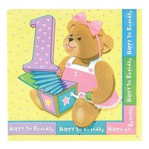 1st Birthday Bears Pink Dessert Napkins 16 Per Package Party Supplies New - $2.23