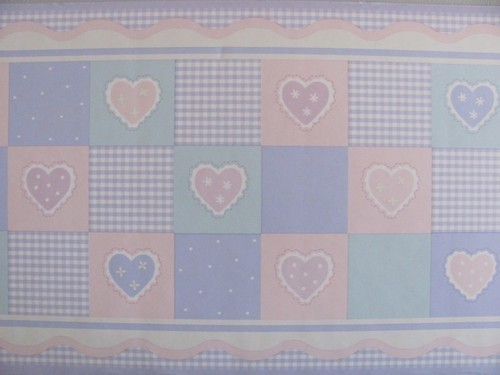 Home & Garden Kidsline Amore Hearts Gingham Patch Quilt Pastel Purple Pink Nursery Wall Border Cheapest Price From Our Site