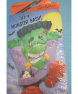 Halloween Monster Bash Party Invitations Black Green Purple 8 Cards & En... - $7.95