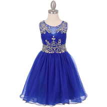 Royal Blue Unique Design AB Stone Bodice Open Back Tulle Wired Skirt Girl Dress - $90.95+