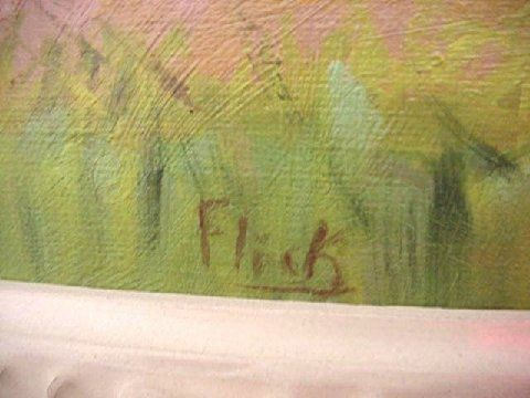 Carl Flick Amana Colony Iowa Farm Planting Landscape Oil Painting (Grant Wood)